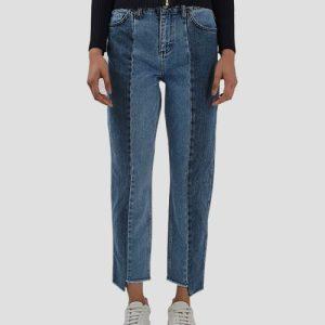 الگوی آماده شلوار جین برش دار دو رنگ