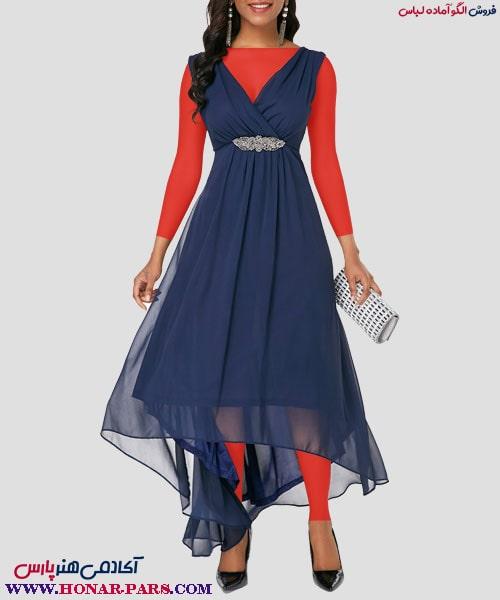 الگوی آماده لباس کوتاه بلند یقه هفت