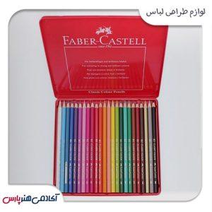 مداد رنگی فابرکستل جعبه فلزی 24 رنگ