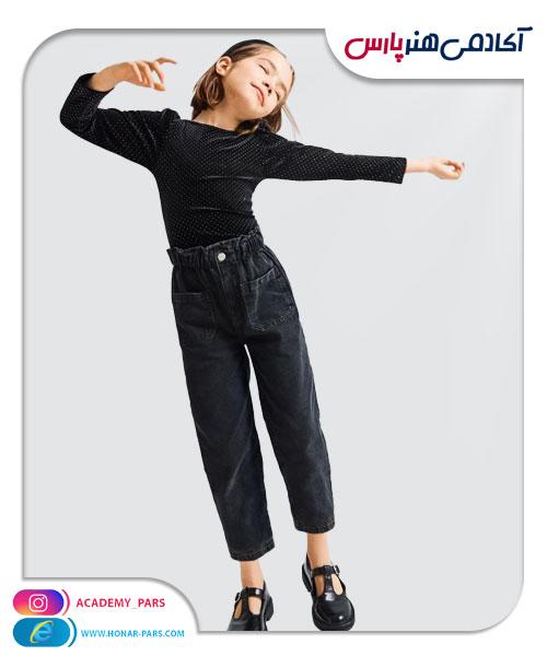 الگوی آماده شلوار جین جلو جیب دار دخترانه