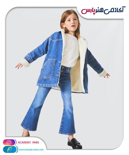الگوی آماده شلوار جین دمپا گشاد دخترانه
