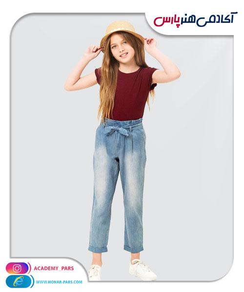 الگوی آماده شلوار جین راسته دخترانه