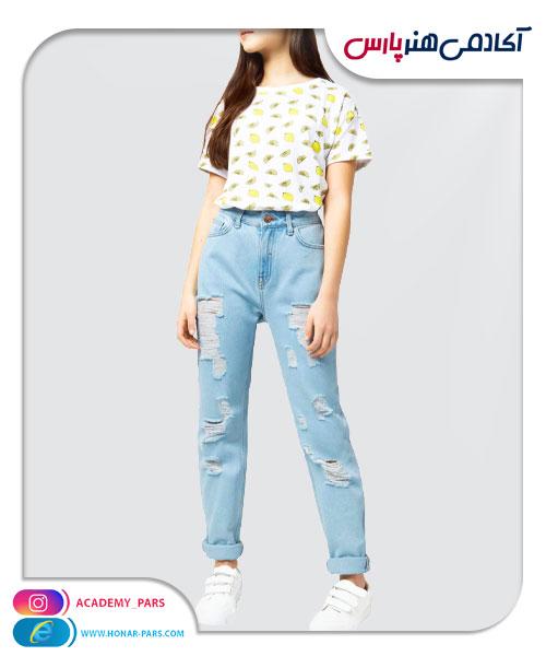 الگوی آماده شلوار جین زاپ دار دخترانه