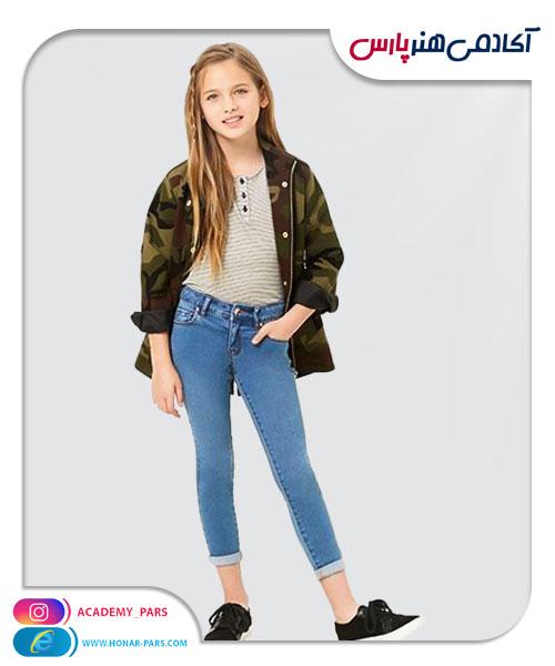 الگوی آماده شلوار جین کوتاه دخترانه